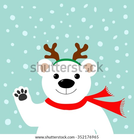 Big white polar bear in deer horn and scarf, waving hand paw.  Merry Christmas Greeting Card. Blue background with snow. Flat design  - stock photo