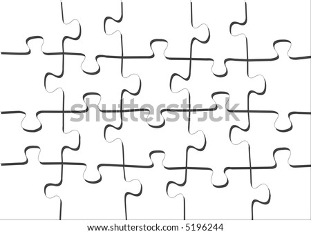 Big white puzzle blank or ready for your image - stock photo