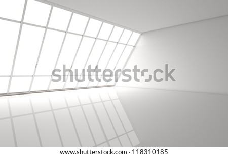 big white room with window - stock photo