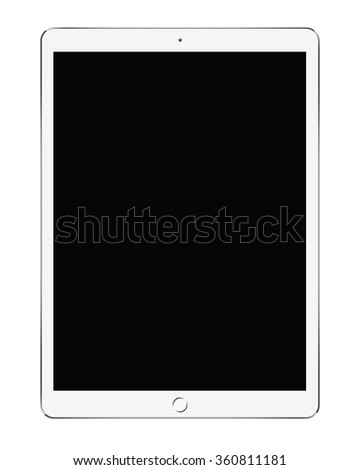 Big White Tablet PC isolated on white background - stock photo