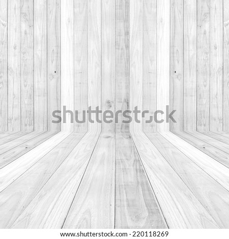 Big White wood plank floor texture background - stock photo