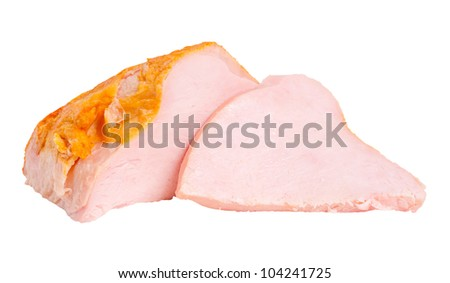 Big whole pieces and sliced turkey breast fillet isolated on white background