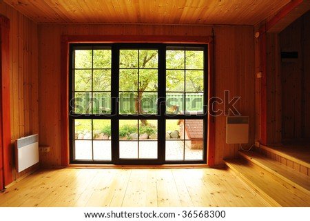 Big window showcase wooden interior - stock photo