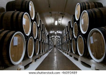 Big wine barrels in a wine cellar - stock photo