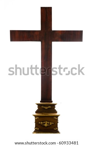 Big Wood Cross isolated on white background . - stock photo