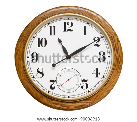 Big wood wall clock on white, isolated with clipping path - stock photo