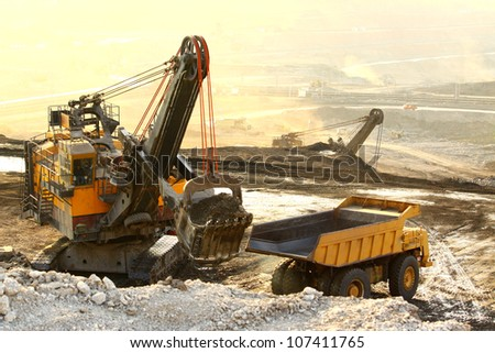 Big yellow mining truck working at worksite