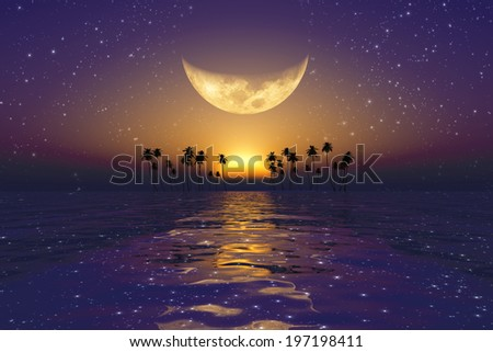 big yellow moon over red sunset at tropical sea with stars - stock photo