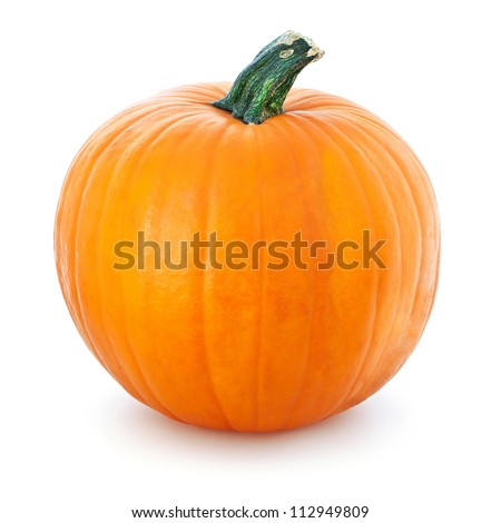 Big yellow pumpkin  on a white background.