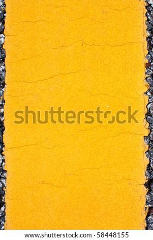 Big Yellow Road Line Close up - stock photo