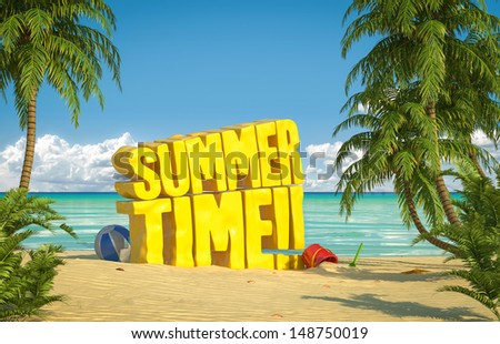 Big yellow summer time text in the sand of a tropical beach - stock photo