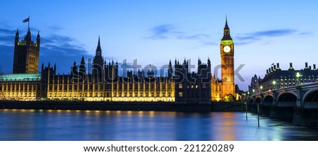 BigBen and Westminster abbey at night in London, UK - stock photo
