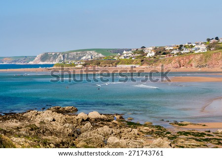 Bigbury on sea beach as seen from Bantham Beach Devon England d