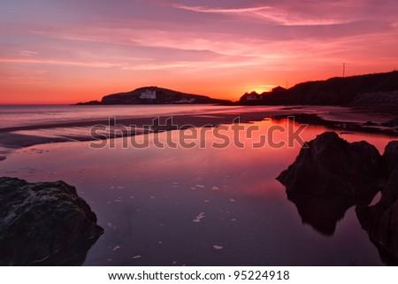 Bigbury on sea overlooking Burgh Island, Devon, UK - stock photo