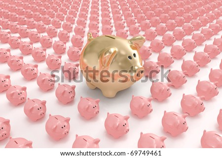 Bigger golden piggy bank standing out from others - stock photo