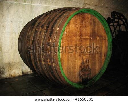 Biggest barrel in brewery storage Plsen Czech - stock photo