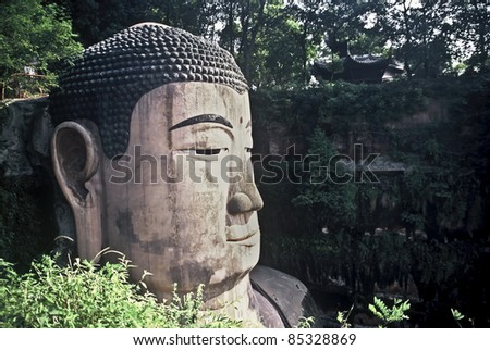 Biggest Buddha in the World in Leshan, Sichuan, China - stock photo