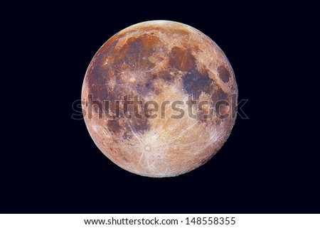 Biggest Full Moon in year 2013 - coloured version, true enhanced colours - stock photo