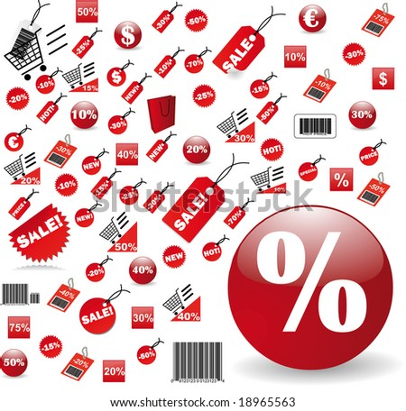 biggest Set of red price tags in jpg design - stock photo