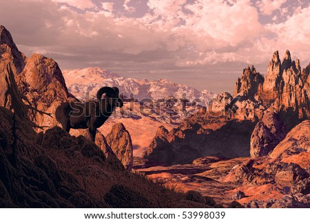 Bighorn sheep overlooking rocky landscape. - stock photo