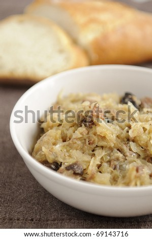 Bigos is a traditional stew typical of Polish, Lithuanian, and Belarusian cuisines that many consider to be the Polish national dish. - stock photo