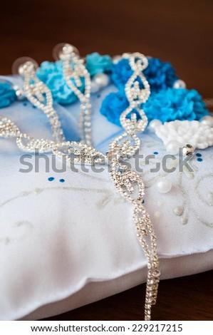 bijouterie necklace with white stones  - stock photo