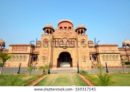 BIKANER � DECEMBER 20: Laxmi Niwas Palace on December 20, 2013 in Bikaner,India.Laxmi Niwas Palace is a former residential palace of the king of the former Bikaner state and was completed in 1926. - stock photo