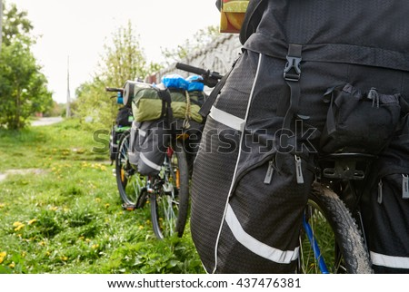 bike active equipment, cycling trip - stock photo