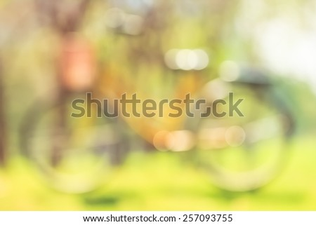 Bike blurry with bokeh in park - stock photo