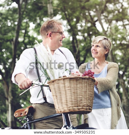 Bike Cheerful Natural Park Romance Two Family Concept - stock photo