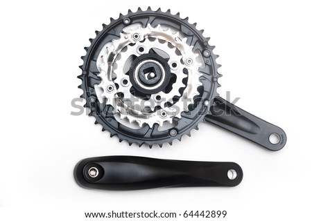Bike crankset and chainring isolated on white - stock photo