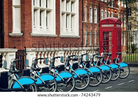 Bike for rent in Lodon ( introduced in July 2010 across London) - stock photo