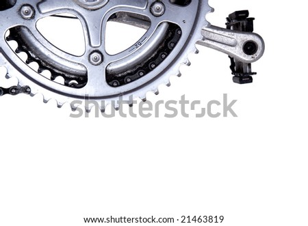Bike gear wheel and pedal on white background - stock photo