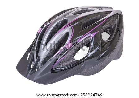 Bike helmet for women isolated on white - stock photo