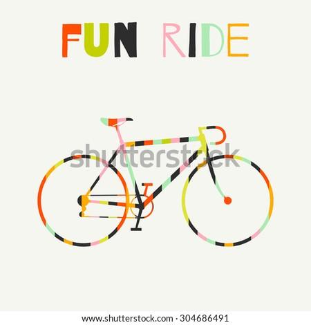 Bike in colorful stripes. Bright colored hipster bike. Raster version - stock photo