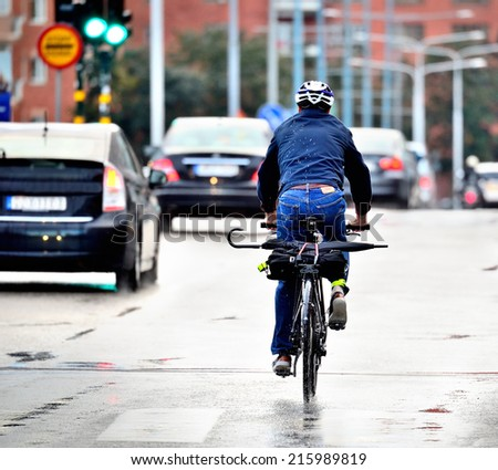 Bike in evening, close-up - stock photo
