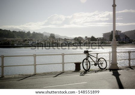 Bike in promenade of Ribadesella, spain