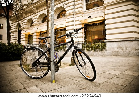 Bike In The Center Of Old European City - stock photo