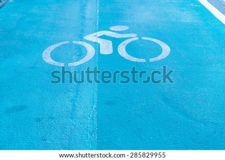 Bike lane sign - stock photo