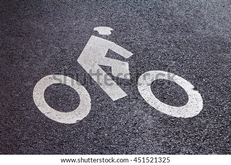Bike Lane Symbol Painted on Street in New York City - stock photo