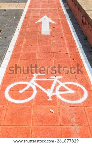 Bike lanes and white bike symbol