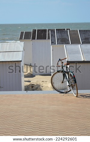 Bike on a seafront promenade in Oostende, Belgium - stock photo