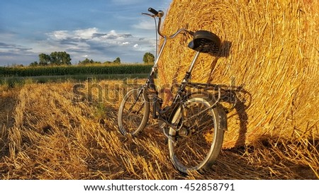 Bike on hay bale