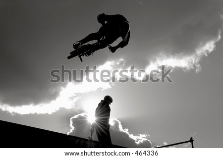 Bike on Vert Ramp - stock photo