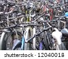 Bike park full of 100s of bicycles. - stock photo