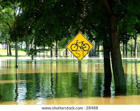 Bike path in the flood - stock photo