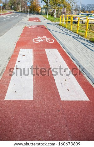 Bike path marked in red