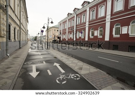 Bike path on Pyatnitskaya street in Moscow, Russia. - stock photo