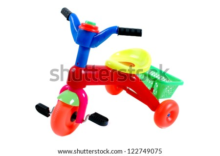 bike plastic toys for kids isolated on white background - stock photo