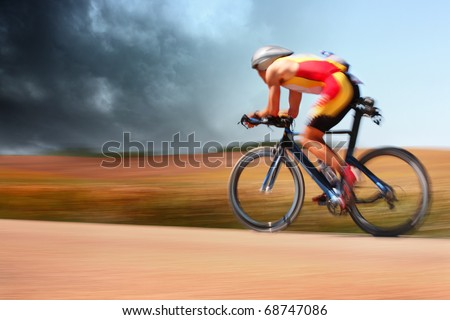 Bike racer (motion blur) - stock photo